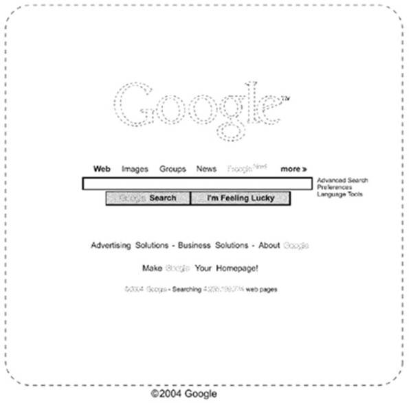 Figure from U.S. Patent No. D599,372 for Google.