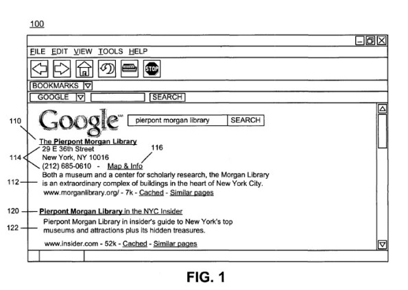 Google Local Search Patent